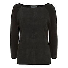 Buy Mint Velvet Jacquard Front Knit Top, Black Online at johnlewis.com