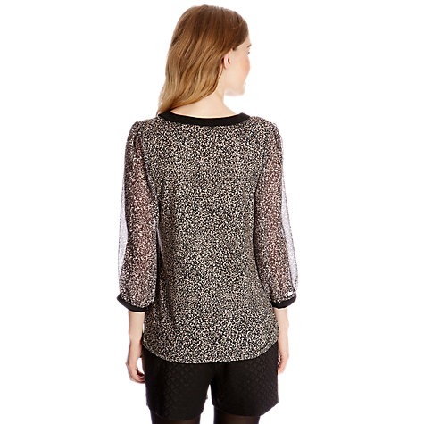 Buy Oasis Animal Print Collar Blouse, Multi Grey Online at johnlewis.com
