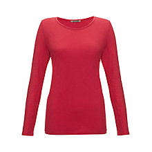 Buy Jigsaw Long Sleeve Jersey Top, Raspberry Online at johnlewis.com