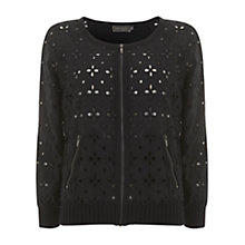 Buy Mint Velvet Broderais Cardigan, Black Online at johnlewis.com
