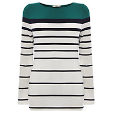 Buy Oasis Block Stripe Clean Fitted T-Shirt, Multi Green Online at johnlewis.com