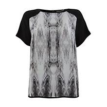 Buy Mint Velvet Billie Print Top, Black / White Online at johnlewis.com