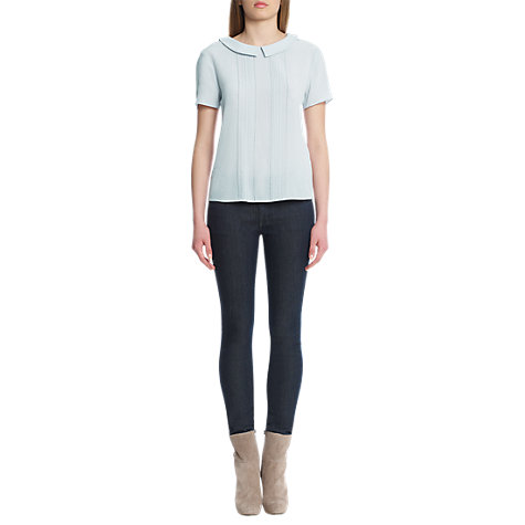 Buy Jigsaw Silk Pintuck Front Blouse, Pale Blue Online at johnlewis.com