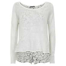 Buy Mint Velvet Shirt Tale Knit Top, Ivory Online at johnlewis.com