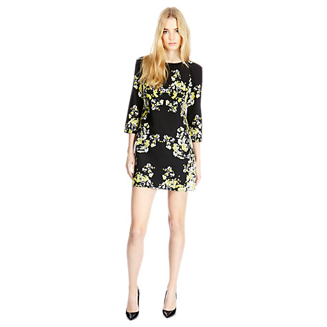 Buy Warehouse Blossom Print Dress, Black / Multi Online at johnlewis.com