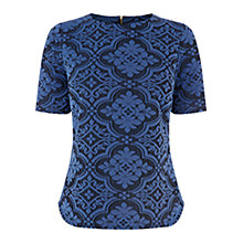 Buy Warehouse Jacquard Top, Bright Blue Online at johnlewis.com