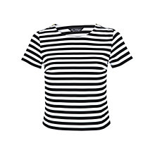 Buy Miss Selfridge Striped Textured T-Shirt, Black/White Online at johnlewis.com
