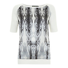Buy Mint Velvet Billie Print Knitted Sweater Top, Ivory Online at johnlewis.com