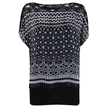 Buy Mint Velvet Connie Print Layered Tunic Top, Navy / Ivory Online at johnlewis.com