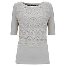 Buy Mint Velvet Lace Layer Knit Top, Vanilla Online at johnlewis.com