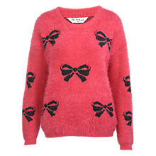 Buy Miss Selfridge Bow Jacquard Fluffy Jumper, Fuchsia Online at johnlewis.com