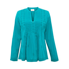 Buy East Embroidered Pintuck Blouse, Peacock Online at johnlewis.com