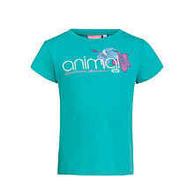 Buy Animal Girls' Acho Floral Print Logo T-Shirt, Jade Online at johnlewis.com