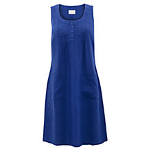 Buy East Pintuck Button Linen Dress, Nautical Online at johnlewis.com