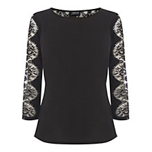 Buy Warehouse Woven Front Lace Insert Top Online at johnlewis.com