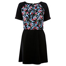 Buy Warehouse Floral Bodice Pique Dress, Black Online at johnlewis.com