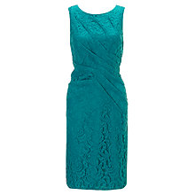 Buy Adrianna Papell Pleat Detail Lace Dress, Malachite Online at johnlewis.com