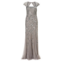 Buy Adriana Papell Cap Sleeve Beaded Dress, Platinum Online at johnlewis.com