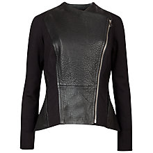 Buy Ted Baker Meyaa Panelled Biker Jacket, Black Online at johnlewis.com
