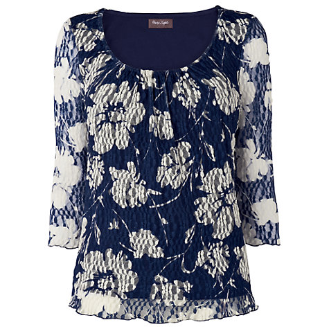 Buy Phase Eight Mara Mesh Top, Navy & Cream Online at johnlewis.com
