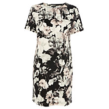 Buy Warehouse Bluebird Lily Print Dress, Black Online at johnlewis.com