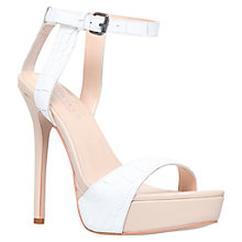 Buy Carvela Gown High Heel Leather Platform Sandals, White Online at johnlewis.com