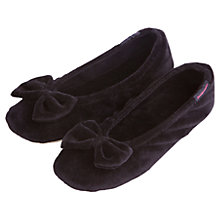 Buy Totes Velour Bow Slippers, Black Online at johnlewis.com