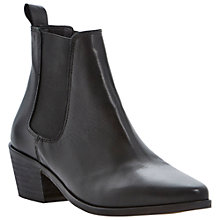 Buy Dune Petra Leather Ankle Boots, Black Online at johnlewis.com