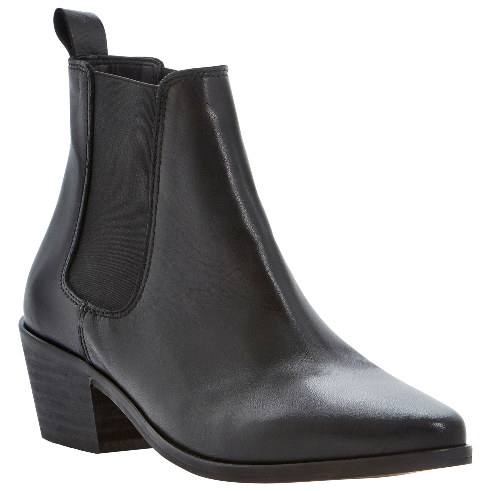 Dune Petra Leather Ankle Boots, Black