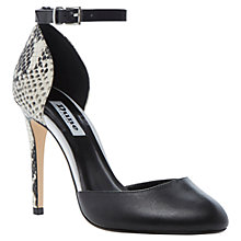 Buy Dune Carys Leather ContrastEffect Ankle Strap Court Shoes, Black Online at johnlewis.com