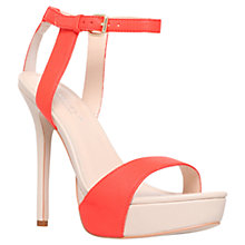 Buy Carvela Gown High Heel Leather Platform Sandals, Orange Online at johnlewis.com