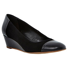 Buy Dune Alaine Suede Wedge Shoes, Black Online at johnlewis.com