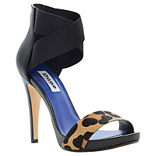 Buy Dune Harmony Pony Leopard Contrast Ankle Strap Court Shoe, Black Online at johnlewis.com
