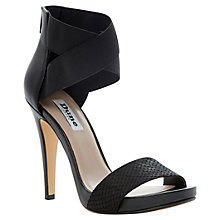 Buy Dune Harmony Cross Strap Zip Leather Stiletto Sandals, Black Online at johnlewis.com
