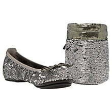 Buy Dune Manhattan Fold-Up Sequin Ballerinas, Pewter Metallic Online at johnlewis.com