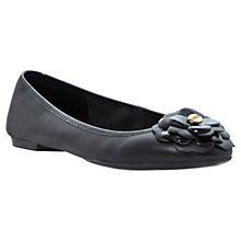 Buy Dune Mariah Leather Flower Ballerinas, Black Online at johnlewis.com