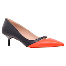Buy Kurt Geiger Cordeila Leather Slingback Court Shoes, Black / Orange Online at johnlewis.com
