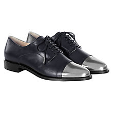 Buy Hobbs Brynne Derby Lace Up Metal Toe Cap Brogues, Navy/Dark Silver Online at johnlewis.com