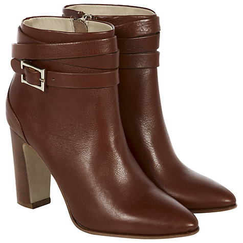 Buy Hobbs Dree High Block Heel Ankle Boots, Dark Tan Online at johnlewis.com