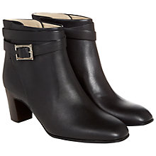 Buy Hobbs Cleo Wrap Over Strap Leather Ankle Boots, Black Online at johnlewis.com