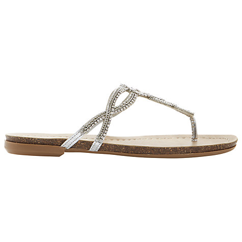 Buy Dune Jina Flat Sandals, Silver Online at johnlewis.com