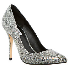 Buy Dune Burst Leather Stingray Print Court Shoes, Black / White Online at johnlewis.com