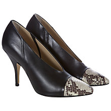 Buy Hobbs Elvie Leather Contrast Toecap Court Shoes, Black Online at johnlewis.com