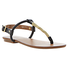 Buy Dune Jamba Gold Twist Throng Buckle Flat Leather Sandals, Black / Tan Online at johnlewis.com