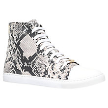 Buy Kurt Geiger Leemo Leather Trainers, Black / White Online at johnlewis.com