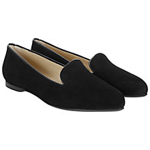 Buy Hobbs Ellen Suede Ballerinas, Black Online at johnlewis.com