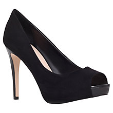 Buy Carvela Lara Peep Toe Suede Court Shoes, Black Online at johnlewis.com