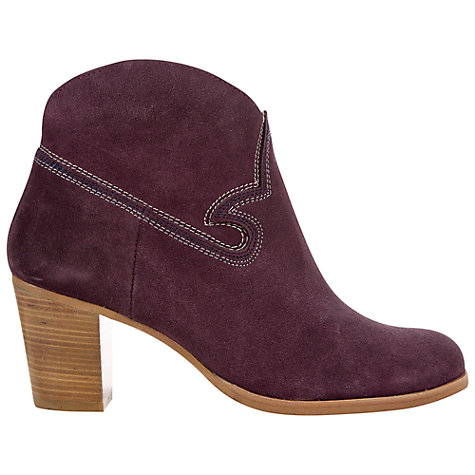 Buy NW3 by Hobbs Maxie Embroidered Cowboy Style Ankle Boots, Plum Online at johnlewis.com