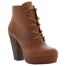 Buy Steve Madden Raspy Platform Leather Ankle Boots, Tan Online at johnlewis.com