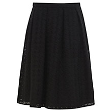 Buy Warehouse Dogtooth Skirt, Black Online at johnlewis.com